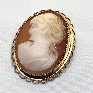 🆕Vintage 14K GF Genuine Carved Shell Cameo